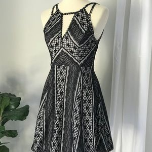 Free People Black And Nude Lace Mini Dress